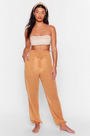 Caramel Chiffon It Paperbag Cover-Up Pants