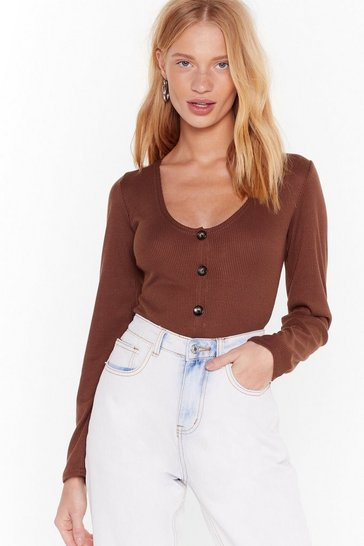 Womens Chocolate Pushed a Button-Down Ribbed Top