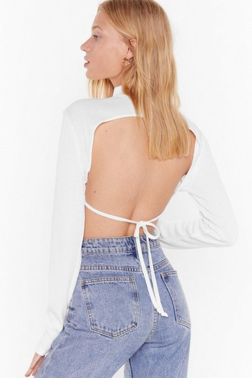 Cream Soft Rib High Neck Open Back Crop Top