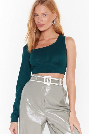 Womens Bottle green Twos a Crowd One Shoulder Crop Top