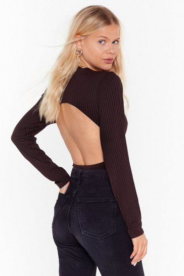 Chocolate Keep Your Options Open Ribbed Bodysuit