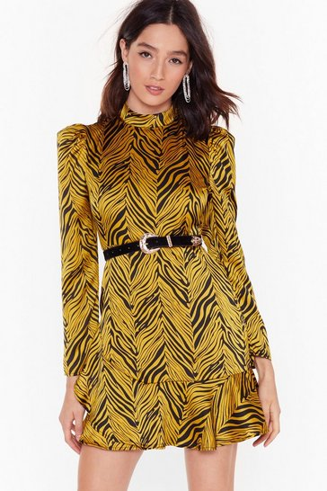 Womens Gold Zebra Satin High Neck Mini Dress