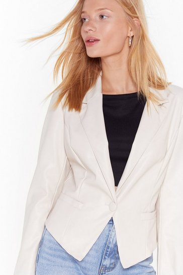 Ecru Leather Give Up Faux Leather Blazer