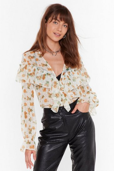 Womens White Downhill from Sheer Floral Ruffle Blouse