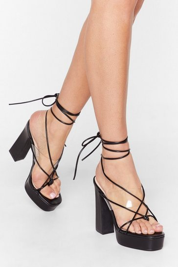 Black Come Back Tie Mine Clear Platform Heels