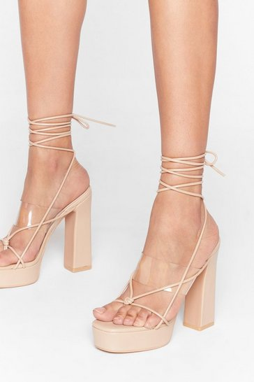 Nude Come Back Tie Mine Clear Platform Heels