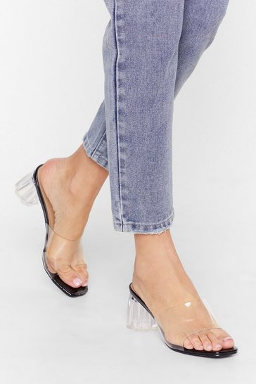 Black Clear Your Schedule Block Heel Mules