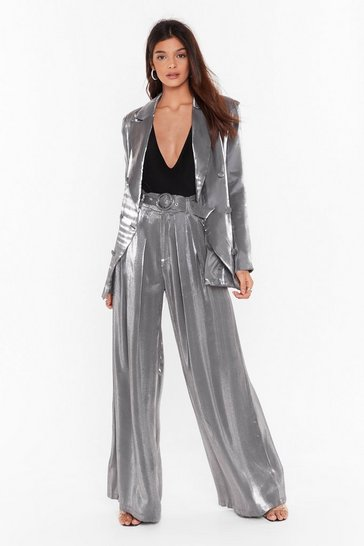 Womens Silver Let's Glow Metallic Wide-Leg Pants