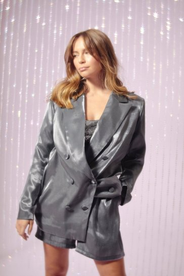 Womens Silver Let's Glow Metallic Oversized Blazer