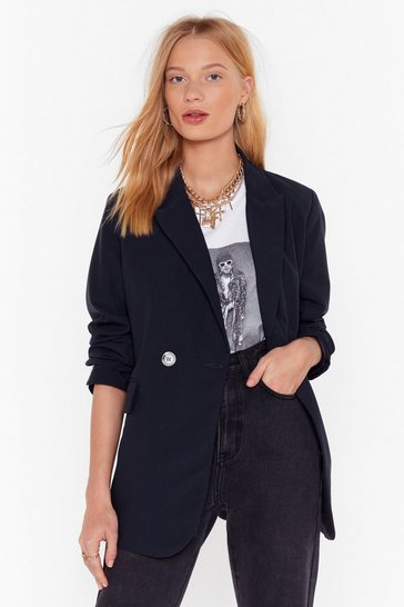 Navy Mind Your Own Business Tailored Blazer