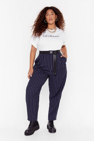 Navy Plus Size Pinstripe Pants with Tapered Silhouette