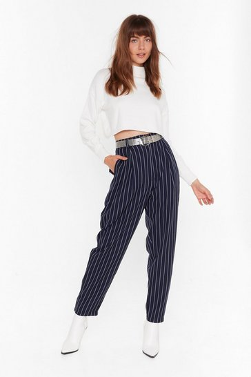 Womens Navy As Line Goes By Tapered Pinstripe Pants