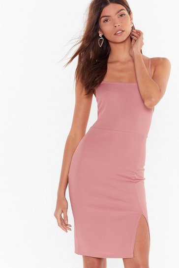 Rose Slick Right in Ribbed Square Neck Midi Dress