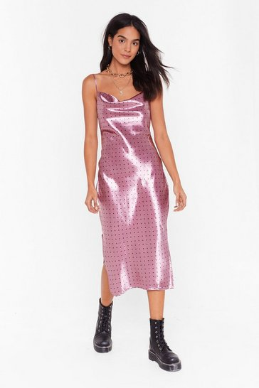 Womens Pink Spot a Chance Satin Midi Dress