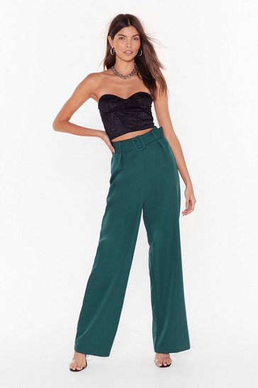 Teal Follow Suit Wide-Leg Pants