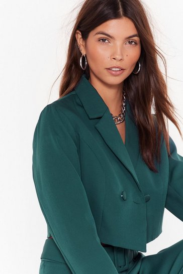 Womens Teal Follow Suit Double-Breasted Cropped Blazer