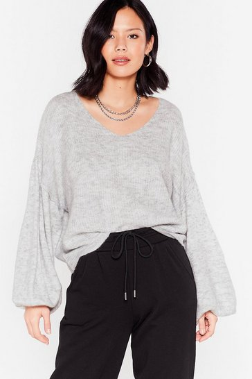 Grey Warm Up to Me Balloon Sleeve Sweater