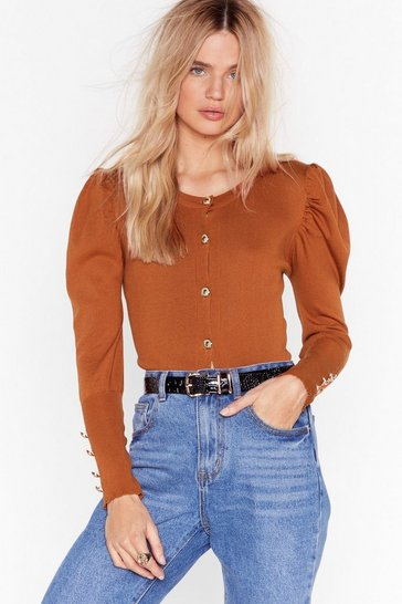 Rust Knit Puff Sleeve Cardigan with Button-Down Closure