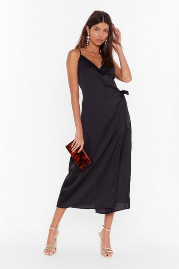 Black Dance All Night Satin Midi Dress