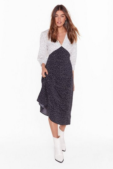 Black Dot Your Average Gal Relaxed Midi Dress