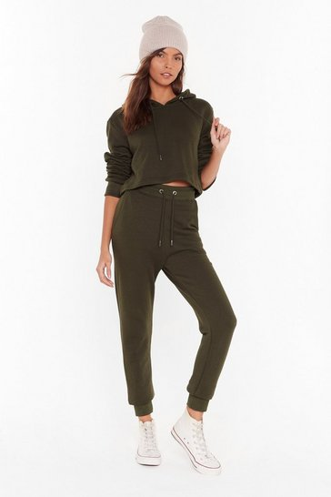 Womens Khaki Go Easy Cropped Sweatshirt and Joggers Set