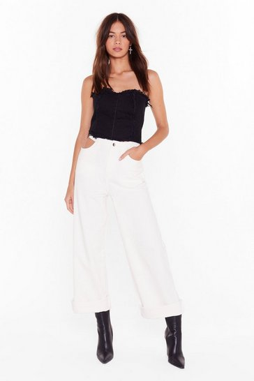 White Try It Cut-Out Wide-Leg Pants