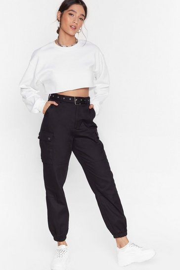 Womens Black Cargo Back High-Waisted Belted Pants