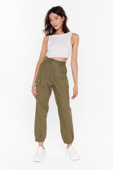 Khaki Cargo Back High-Waisted Belted Pants
