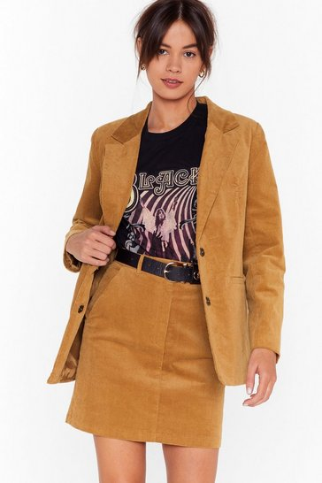 Womens Tan You Smashed the Record-uroy Longline Blazer