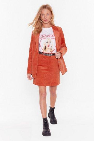 Orange Cord Mini Skirt