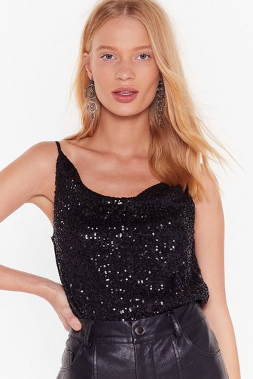 Womens Black Born to Sequin Cowl Cami Top