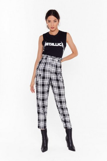Womens Black Check the Sound Paperbag Tapered Pants
