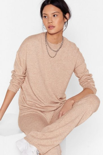 Camel Underneath Knit All Sweater and Pants Lounge Set