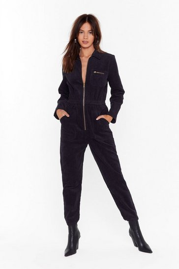 Womens Black Set the Record-uroy Straight Relaxed Boilersuit