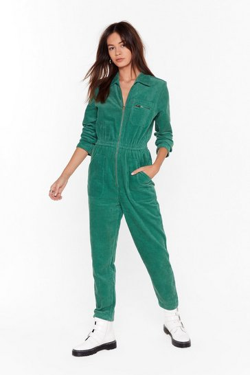 Womens Green Set the Record-uroy Straight Relaxed Boilersuit