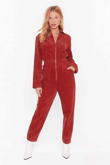 Womens Rust Set the Record-uroy Straight Relaxed Boilersuit
