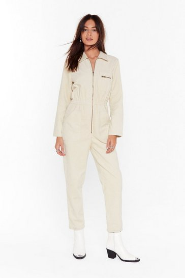 Womens Stone Set the Record-uroy Straight Relaxed Boilersuit