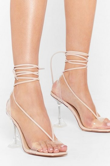 Nude Have We Made That Clear Strappy Stiletto Heels