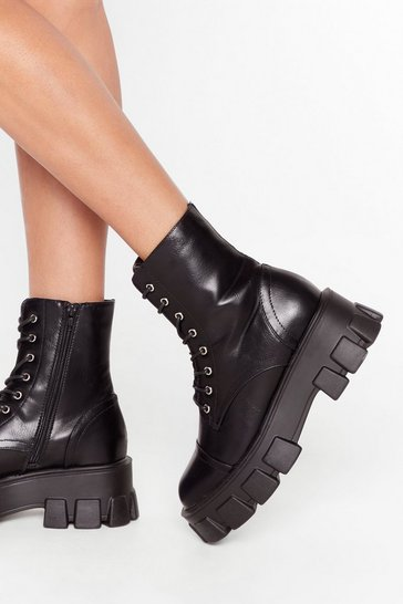 Black Cleat Faux Leather Lace-Up Boots with Low Block Heel