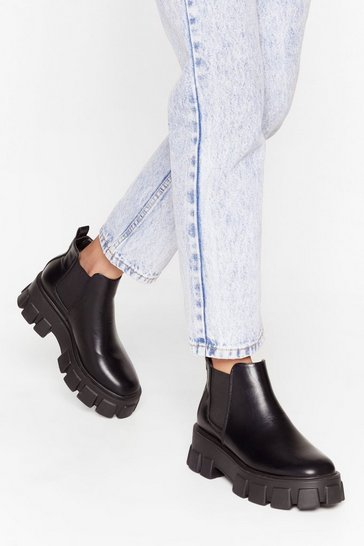 Black You're in the Driving Cleat Faux Leather Boots