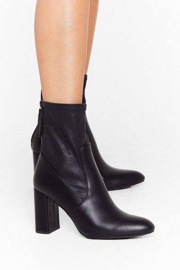Black Sock 'Em Dead Faux Leather Block Heel Boots