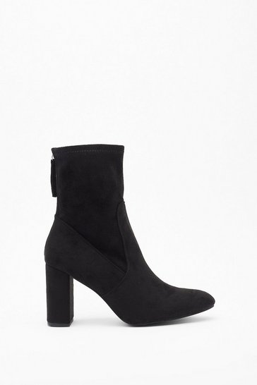 Womens Black Sock 'Em Dead Faux Suede Block Heel Boots