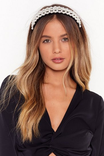 Black Oversized pearl detail headband