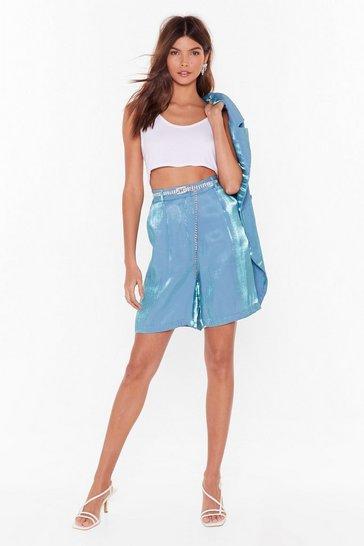 Teal Let's Glow Metallic Longline Shorts