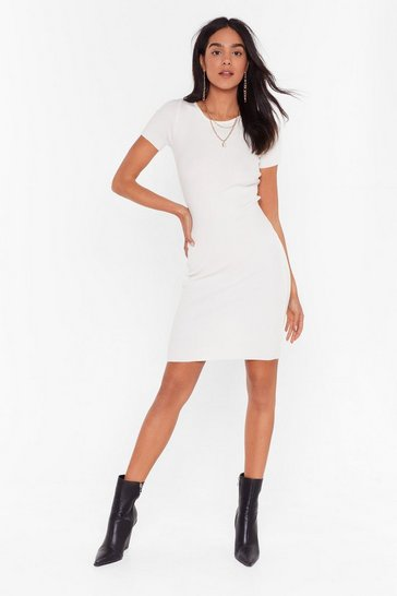 Cream Get Rib Right Crew Neck Midi Dress
