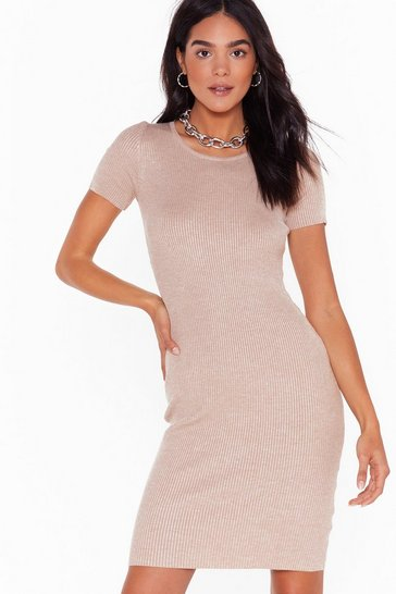 Womens Taupe Get Rib Right Crew Neck Midi Dress