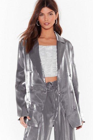 Silver Let's Glow Metallic Double Breasted Blazer