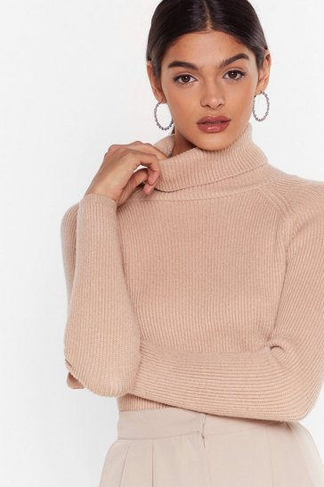 Taupe Ribbed Knit Turtleneck Sweater