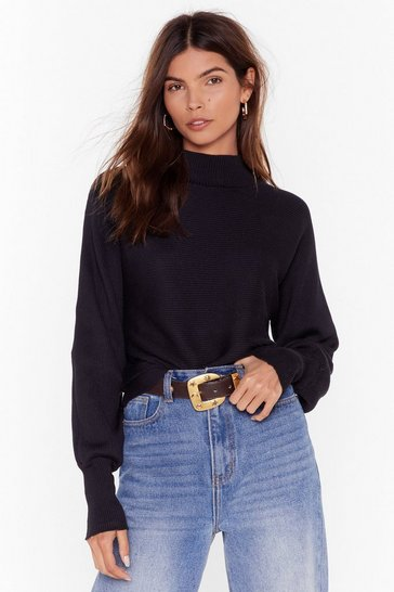Black We're Just Warming Up Ribbed Knit Sweater