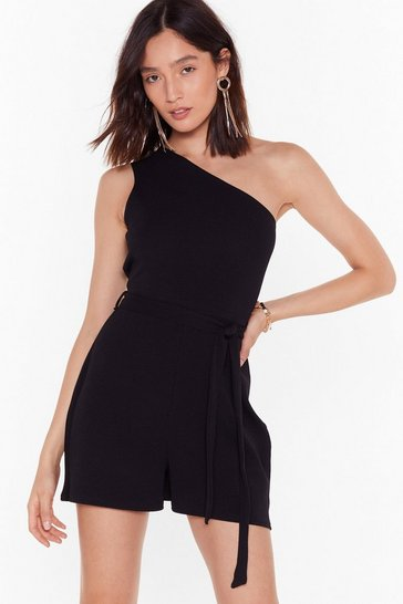 Black All in One Night Belted Romper